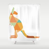 kangaroo Shower Curtains featuring Kangaroo Capers by ArtisanObscure Prints