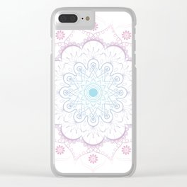 Mandala in pink and blue Clear iPhone Case