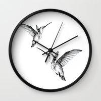 flight Wall Clocks featuring Flight by Libby Watkins Illustration