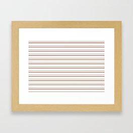 Sherwin Williams Cavern Clay Horizontal Line Pattern on White 3 Framed Art Print