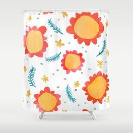 Painted Flowers orange Shower Curtain