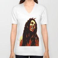 reggae V-neck T-shirts featuring the god of reggae by  Agostino Lo Coco