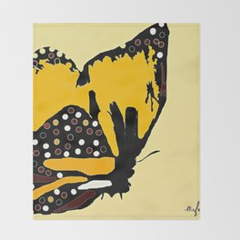 Yellow Butterfly Throw Blanket
