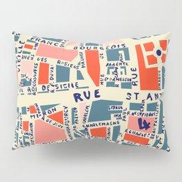 paris map blue Pillow Sham