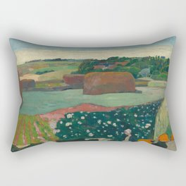 Haystacks in Brittany Oil Painting by Paul Gauguin Rectangular Pillow