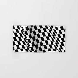 Wavy checkered racing flag, black and white Hand & Bath Towel