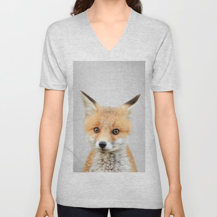 Baby Fox - Colorful Unisex V-Neck