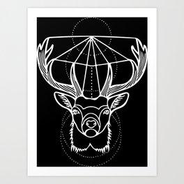 Geometric Stag Deer Head in White Art Print
