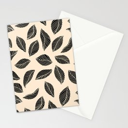 Falling Leaves in black and ivory Stationery Cards