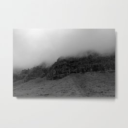 Iceland Foggy Mountains in black and white Metal Print