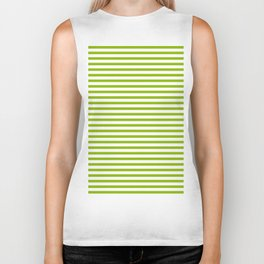 Apple Green & White Maritime Small Stripes- Mix & Match with Simplicity of Life Biker Tank