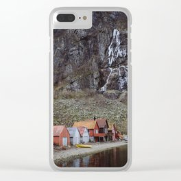 frozen water at Frafjord, Norway Clear iPhone Case