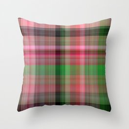 Pink Roses in Anzures 2 Plaid 1 Throw Pillow