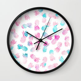 Modern summer tropical pineapple watercolor illustration pattern Wall Clock