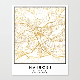 NAIROBI KENYA CITY STREET MAP ART Canvas Print