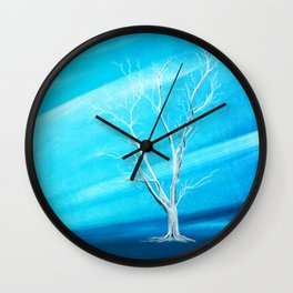 Big white leafless tree blue background Wall Clock