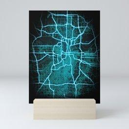 Kansas City, MO, USA, Blue, White, Neon, Glow, City, Map Mini Art Print