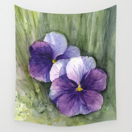 Purple Pansies Watercolor Flowers Painting Violet Floral Art Wandbehang