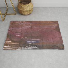 Brown maroon squares Rug
