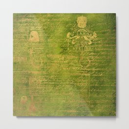 Green with Gold Script Metal Print