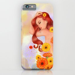 Woman with gerberas iPhone Case