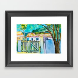 Green gate and the neighbors Framed Art Print