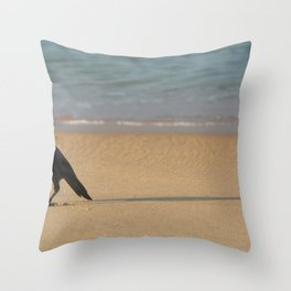 Crow on the Sand Varkalala Throw Pillow