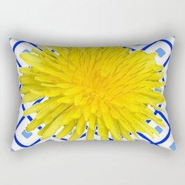 Yellow Dandelion Flower On Delft Blue Tile Rectangular Pillow