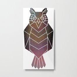 Rainbow geometric owl Metal Print