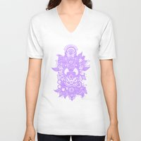 henna V-neck T-shirts featuring Purple Henna by haleyivers