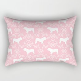 English Bulldog silhouette florals pink and white minimal dog breed pattern print gifts bulldogs Rectangular Pillow