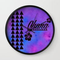 ohana Wall Clocks featuring Ohana by Lonica Photography & Poly Designs