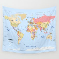 Political Map of The World - I Wall Tapestry