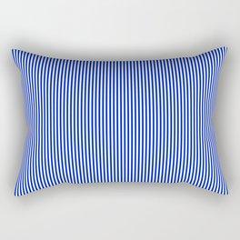 Cobalt Blue and White Vertical Nautical Sailor Stripe Rectangular Pillow