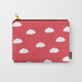 White clouds in red background Carry-All Pouch