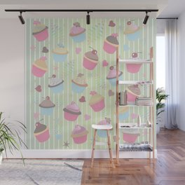 Cupcakes with love Wall Mural