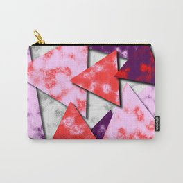Triangles Layered Pattern in Red Purple and Pink Carry-All Pouch