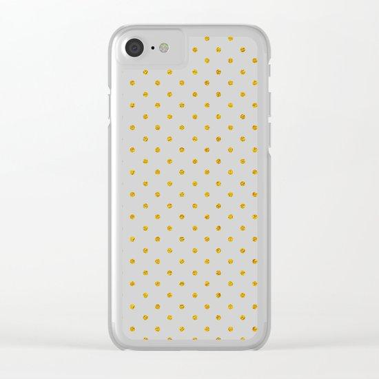 Polka dot dance on grey Clear iPhone Case