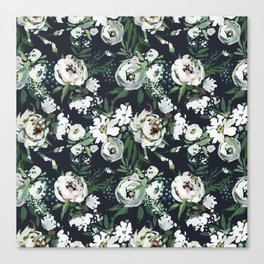 Hand painted blush pink white green watercolor floral Canvas Print