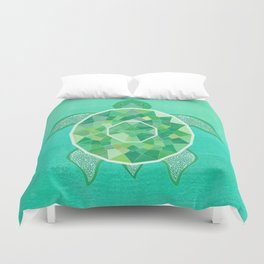 Turtle - Emerald Duvet Cover