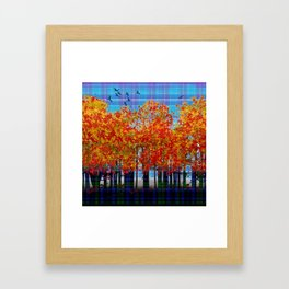 Fall Leaves On Plaid Framed Art Print