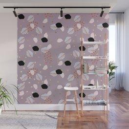 Modern mauve pink black gold geometrical brushstokes Wall Mural