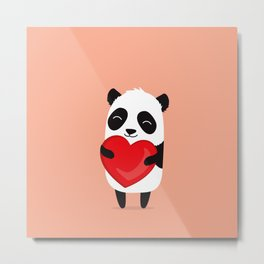 Panda love. Cute cartoon illustration Metal Print