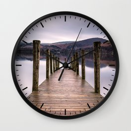 Lake View with Wooden Pier Wall Clock