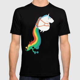 Fat Unicorn on Rainbow Jetpack T-shirt