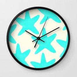 Aqua Starfish Pattern on Pale Yellow Wall Clock