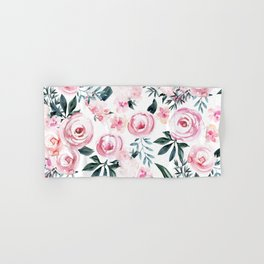 Floral Rose Watercolor Flower Pattern Hand & Bath Towel