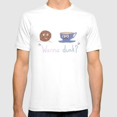 Wanna Dunk? Mens Fitted Tee SMALL White