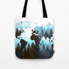 world map forest Tote Bag