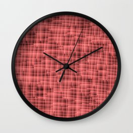 Square pastel curved stripes with interweaving of the bark of a red tree trunk. Wall Clock